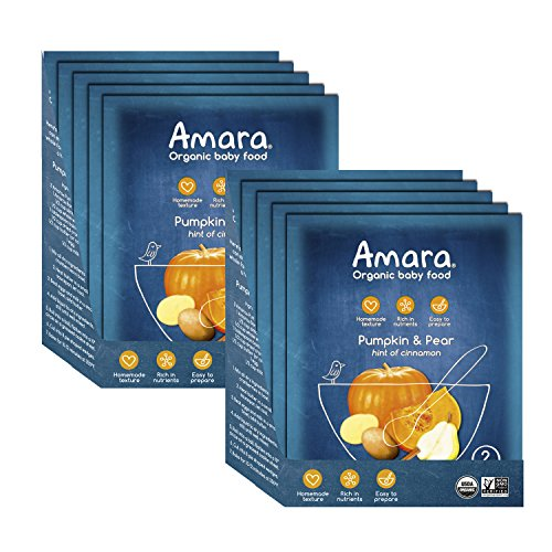 Amara Baby Food, Pumpkin Pear, Healthy Baby & Infant Food, Organic Fruits and Veggies for Baby's First Meals – Stage 2 (10 Pouches)