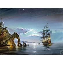 Artsailing Paint by Numbers Canvas for Adults Kids Beginner Kits - Wonders Ship Sea Scenery Drawing Painting by Number with Brushes and Acrylic Canvas Art Home Decor Gift - Frameless 16 x 20 Inch