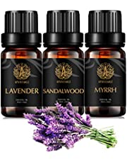 Aromatherapy Myrrh Essential Oil Set for Diffuser, 3X10ml 100% Pure Sandalwood Essential Oil Kit for Humidifier - Myrrh, Sandalwood, Lavender Essential Oil Set, Aromatherapy Lavender Oils Kit