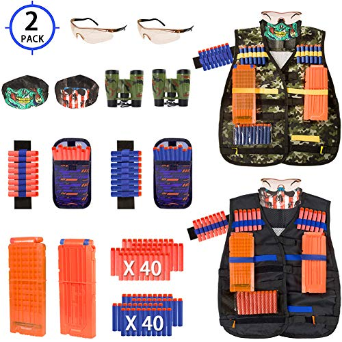 AILUKI Kids Tactical Vest Kit for Nerf Guns Game N-Strike Elite Series Wars with Refill Darts, Reload Clips, Dart Pouch, Tactical Mask, Wrist Band and Protective Glasses for Boys ,Girls - 2 Pack (Best Girl Nerf Gun)