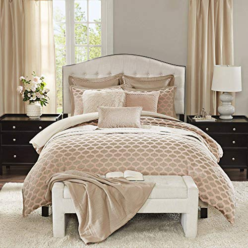 Madison Park Signature Romance Queen Size Bed Comforter Duvet 2-In-1 Set Bed In A Bag - Pink Blush , Jacquard - 8 Piece Bedding Sets - Ultra Soft Microfiber Bedroom Comforters