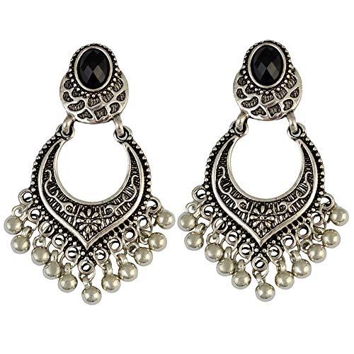 CHOA Vintage Antique Gold Beaded Tassel Earrings for Women Carved Multilayer Long Chandelier Earring (Silver)