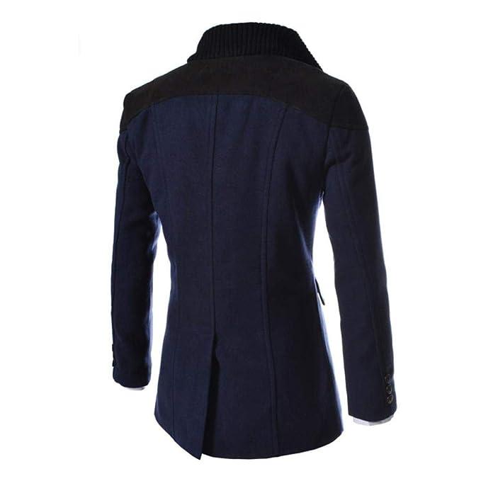 Resplend Chaqueta de Hombre Cálido Invierno Trench Largo Outwear Button Smart Overcoat: Amazon.es: Ropa y accesorios