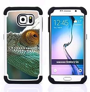 GIFT CHOICE / Defensor Cubierta de protección completa Flexible TPU Silicona + Duro PC Estuche protector Cáscara Funda Caso / Combo Case for Samsung Galaxy S6 SM-G920 // Green Chameleon //