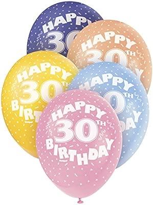 Unique Party Globos Perlados de Látex para Cumpleaños Happy 30th Birthday, 5 Unidades, 30 cm (80213) , Modelos/colores Surtidos, 1 Unidad
