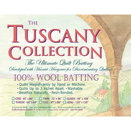 Hobbs Batting Tuscany 100% Washable Wool x 120in King, 120