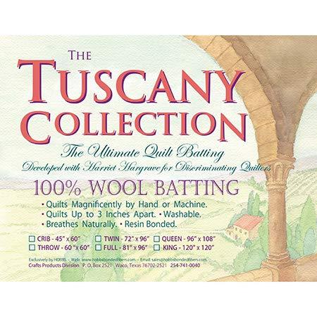 - Hobbs Batting Tuscany 100% Washable Wool x 120in King, 120