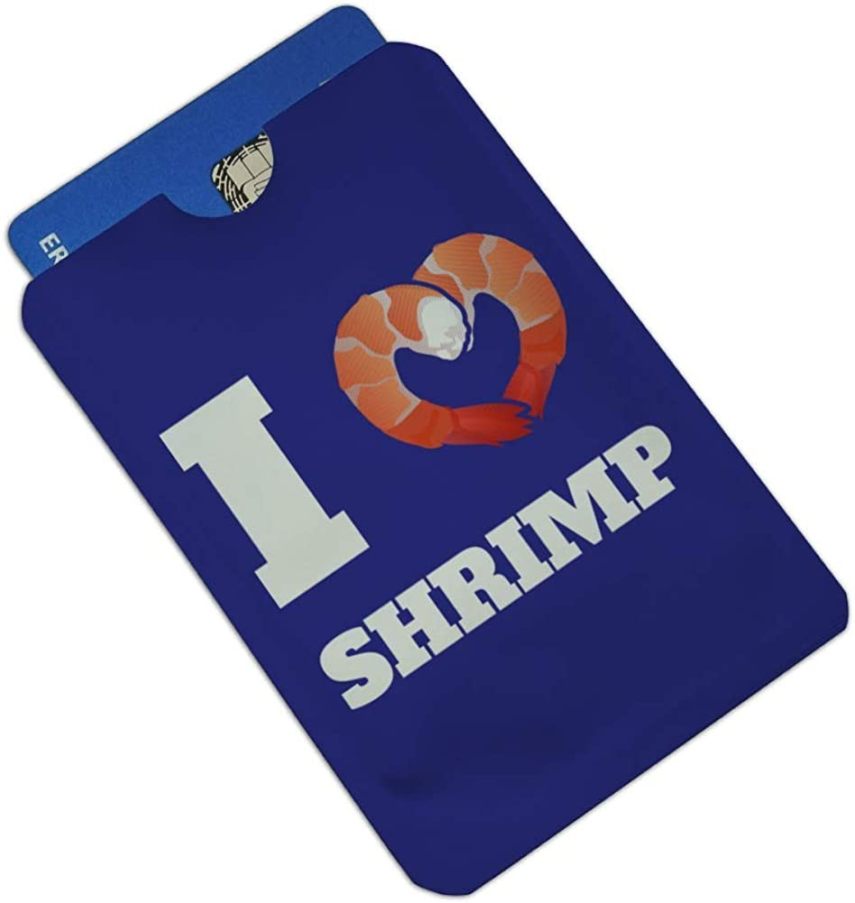 I Love Shrimp with Heart Credit Card RFID Blocker Holder Protector Wallet Purse Sleeves Set of 4