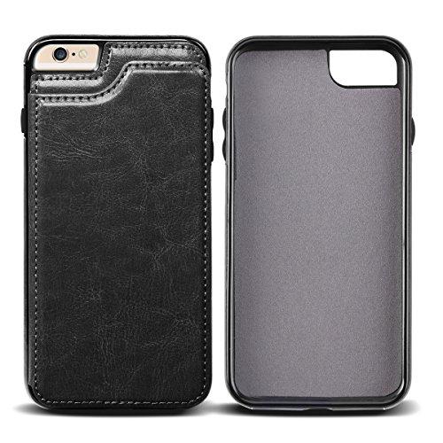 iPhone 6S Custodia,Coolden® Ultra Sottile PU Cuoio Protettiva Custodia in Pelle Flip Bumper Cover Posteriore per il iPhone 6/6S(4.7 Pollici) con carte di credito slot-Nero