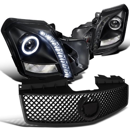 ojector Led Black Headlights+Abs Mesh Hood Grille Black ()