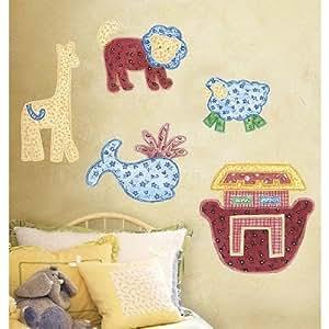 Noahs ark patchwork animals vinyl mural wall for Amazon wall mural
