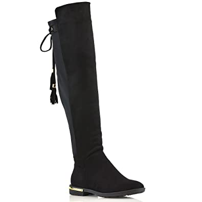 ca37bb80835 ESSEX GLAM Womens Over The Knee Boots Black Faux Suede Gold Trim Flat Heel  Tassel Boots