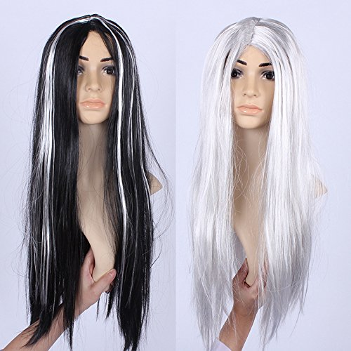 Cheap Xmas Fancy Dress Costumes (JMKT Halloween Masquerade Costume Props Whole Black And Silver Hair Wig Fancy Dress Party Wigs Halloween Decoration)
