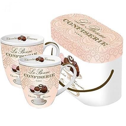 2 Tazas de cafe con asa a juego con caja regalo. Porcelana. Colores blanco