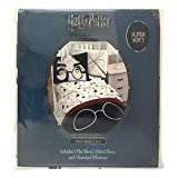 A&L 3 Piece Kids White Harry Potter Sheet Set Twin, Navy Sorting Hat Bedding Glasses Hats Bed Sheets Star Printed Adventure Film Soft Cozy Comfortable Luxurious Elegant Grey Gray Durable, Polyester