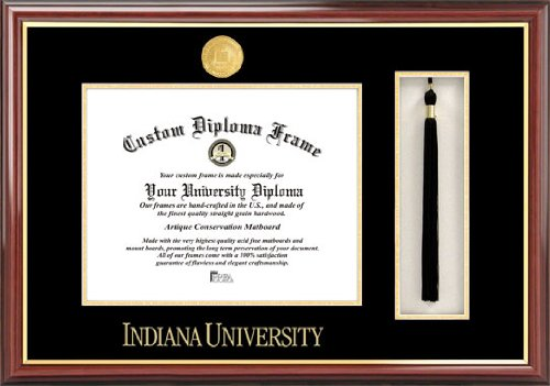 Indiana University Hoosiers - Gold Medallion - Tassel Box - Mahogany - Diploma Frame (Memorial Stadium Panoramic Print)