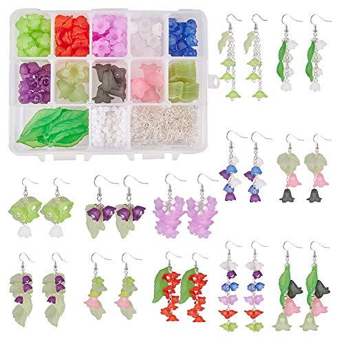 SUNNYCLUE 1 Box DIY 12 Pairs Frosted Mixed Acrylic Lily Flower Leaf Drop Dangle Earring Making Kits with 160pcs Acrylic Flower Beads & 30pcs Maple Leaf Charm Pendants & 24pcs -