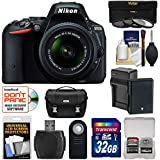 Nikon D5500 DSLR Camera & 18-55mm VR DX II Lens with 32GB Card + Battery/Charger + Case Kit (Certified Refurbished)