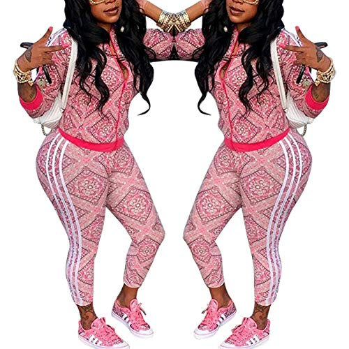 Two Piece Tracksuit Stripes Flower Print Zip Up Crop Tops Blazer Playsuit Pink L