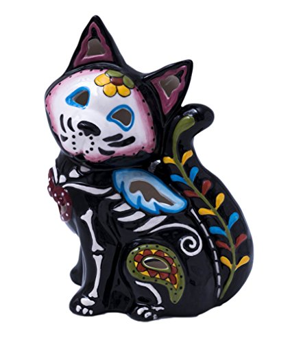 Blue Sky Ceramic Day of Dead - Cat Home Décor Accents, Multicolor -