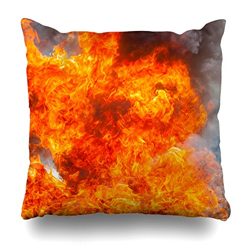 KJONG Movement Flame FireZippered Pillow Cover,18 x 18 inch Square Decorative Throw Pillow Case Fashion Style Cushion Covers(Two Sides Print)