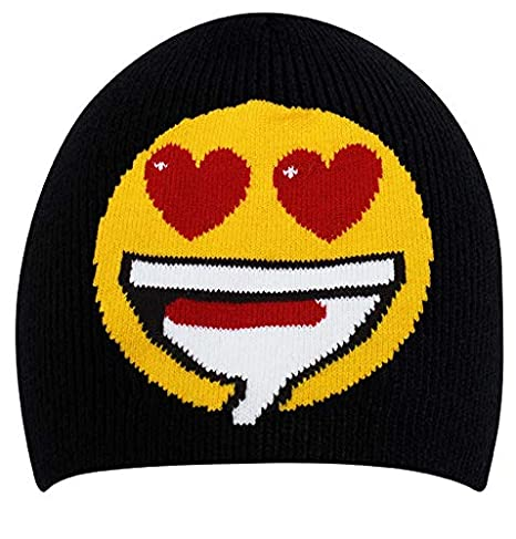 e2b890e04d2 Amazon.com  Unisex Emoji Beanie Hat - Emoticon Print Skull Cap  (Heart-Shaped Eyes)  Clothing