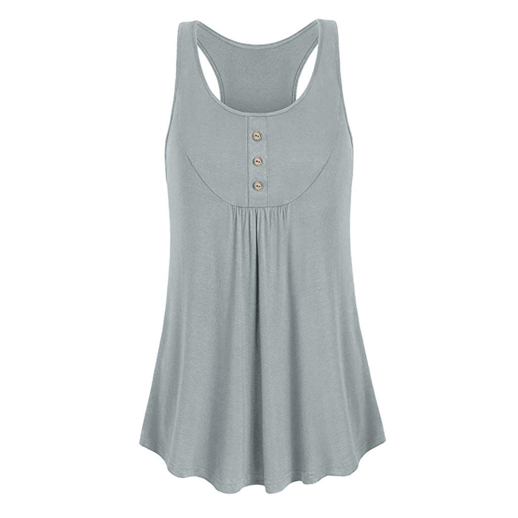 Hotkey Womens Short Sleeve Blouses Womens Sleeveless Round Neck Loose Fit Workout Tank Top Button Sport Vest Gray