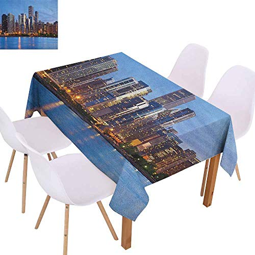 Marilec Stain-Resistant Tablecloth Chicago Skyline Sunset in Big City with Dramatic Sky Skyscrapers Evening by Lake and Durable W70 xL102 Blue Orange Taupe