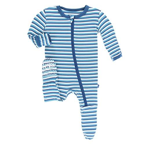 Confetti Stripe (KicKee Pants Little Boys Print Footie with Zipper - Confetti Anniversary Stripe, 12-18 Months)