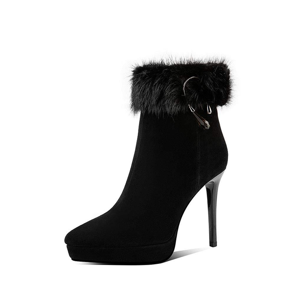 Stiefelies Frauen High Heel 2018 Herbst und Winter Neue Wilde Wasserdichte Plattform Stiletto Plus samt Matte Lederstiefel (Farbe   SCHWARZ, größe   39)