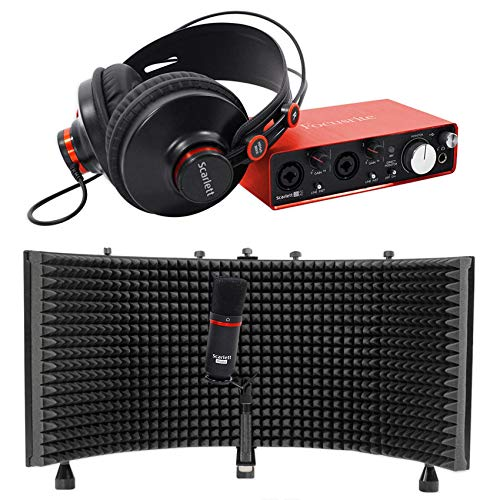 (Package: Focusrite SCARLETT STUDIO 2i2 MK2 192kHz USB 2.0 Audio Interface With Microphone and Headphones + Rockville RMF1 Studio Microphone Isolation Shield with Sound Dampening Foam)