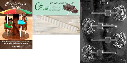 Cybrtrayd 'Crab Lolly' Nautical Chocolate Candy Mold with 25 4.5-Inch Lollipop Sticks and Chocolatier's Guide