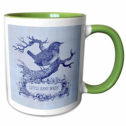 2 Tone Cartouche (3dRose Russ Billington Designs - Little Jenny Wren- pretty little bird and cartouche in blue - 11oz Two-Tone Green Mug (mug_220311_7))