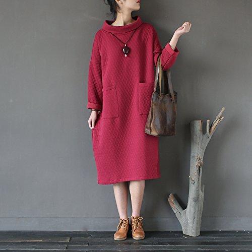 Manches Longues Femmes Aeneontrue Robe Sweat-shirt À Col Roulé Avec Des Poches Latérales Style5_red