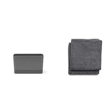 Brabantia Organizador de Fregadero, Gris Oscuro, 8,5 x 19 x 11.5 cm + Paños de Cocina de Microfibra, Gris Oscuro, Set de 2