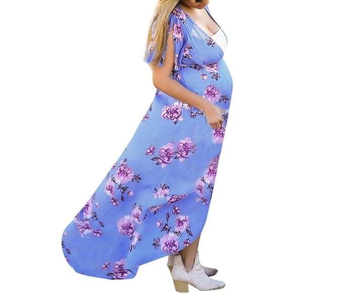 Gusspower Vestido de Mujer Embarazada Larga,Vestido Maternidad Estampado de Manga Corta premamá de Cuello