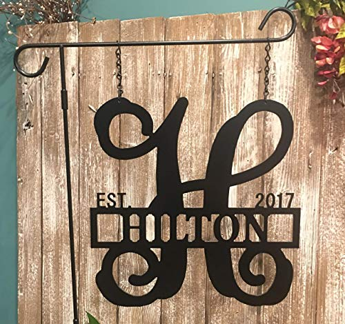 Custom Last Name Initial Garden Flag ACM Metal Monogram Established Sign Lamp Post QUICK SHIPPING (Lamppost House Number)