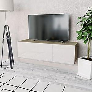 Festnight Meuble TV Suspendu en Aggloméré Design Moderne 120 x 40 x 34 cm Blanc Chêne