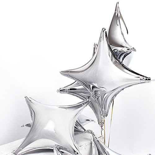 ZOOYOO 24 Star Shape Foil Mylar Balloon Silver Quadrangle Balloon - 24pcs Four Angle Star Balloons For Birthday Party & Wedding Decoration