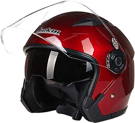 Folconauto Casco de Moto Scooter, Casco de Moto de Choque de Cara Abierta - Rojo (L): Amazon.es: Deportes y aire libre
