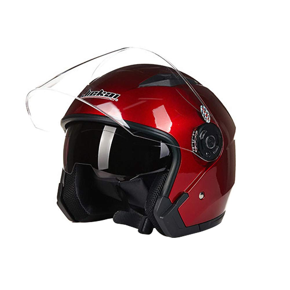 Rouge Casque de Moto Crash Jet Open Face M Folconauto Casque de Scooter Moto