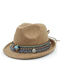 GR Bohemia Ribbon For Elegant Lady Jazz Church Sombrero de Padrino Sombrero  Caps Mujeres de Lana 4e1dc21fa31