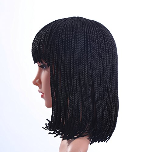 Beauty : Braided Wigs for Women Black Short Bob Wigs with Bangs Braid Synthetic Hair Halloween Wig with Wig Cap ( 12 inch ) Z078BK