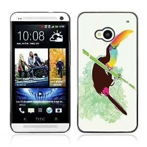YOYOSHOP [Cool Neon Bird On Bamboo] HTC One M7 Case