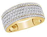 14K Yellow Gold Over Sterling Silver Cubic Zirconia Hip Hop Men's Half Eternity Band Ring