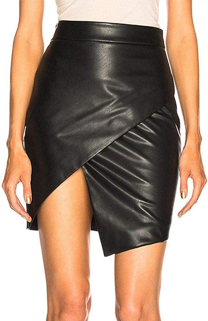 Mujer Tailored Lápiz Falda De Oficina Clásico De Cuero De Imitación De La Falda De Bodycon Estiramiento Mini Falda De Wetlook Falda De Cintura Alta Asimétrico Falda De Cuero S XL