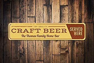 Craft Beer Sign Personalizzato Served Here Sign Custom Home Bar Family Name Sign Metal Bar Decor Metal Sign for Home Wall Art Decor Post placca per Donne Uomini