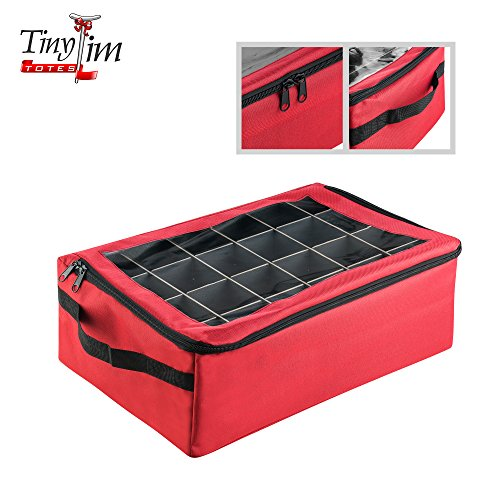 Tiny Tim Totes | | Premium | 48 Christmas Ornament Organizer Storage Box | Red, Case