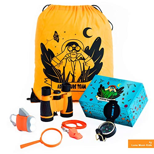 Outdoor Exploration kit for Kids. Adventure Educational Children's Toy. Binoculars, Flashlight, Compass, Magnifying Glass, Whistle and Backpack. Great Gift Set for Camping, Birthday and STEM Learning