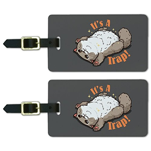 It's a Trap Cat Belly Rubs Funny Luggage ID Tags Carry-On Cards - Set of 2